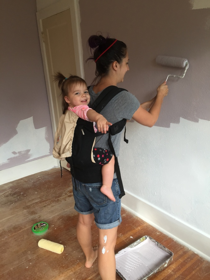 How you paint with a toddler on the weekends. This sort of worked.